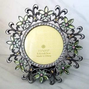FLOWER FRAME Round with Jewels